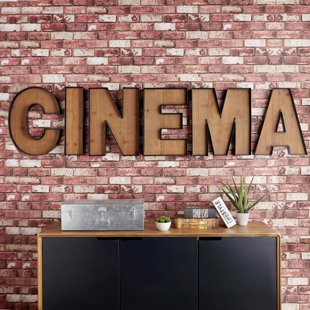 Wanddecoratie Bord Hout.Wanddecoratie In Metaal En Hout L215 Cinema Maisons Du Monde