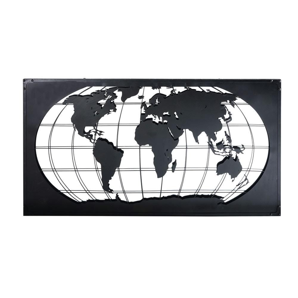 Wanddecoratie Wereldkaart Metaal.Wanddecoratie Wereldkaart Van Zwart Metaal 150x80 James Maisons Du