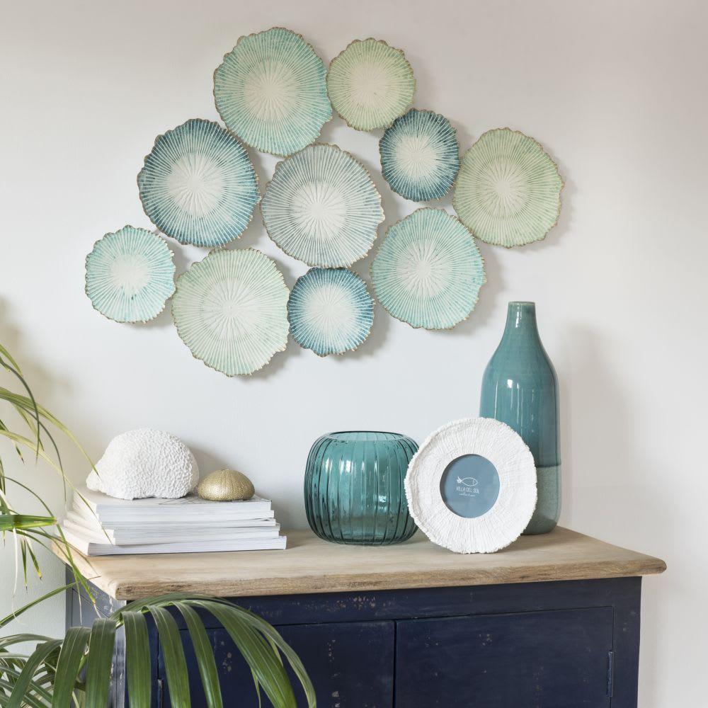 wanddeko aus blauem metall 80x51 laguno maisons du monde. Black Bedroom Furniture Sets. Home Design Ideas