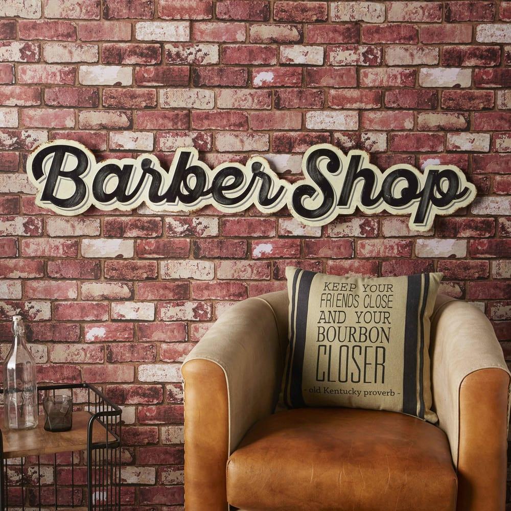 wanddeko aus gew lbtem metall barber shop. Black Bedroom Furniture Sets. Home Design Ideas
