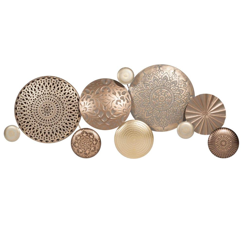 wanddeko aus goldfarbenem metall 37x89 circles maisons. Black Bedroom Furniture Sets. Home Design Ideas