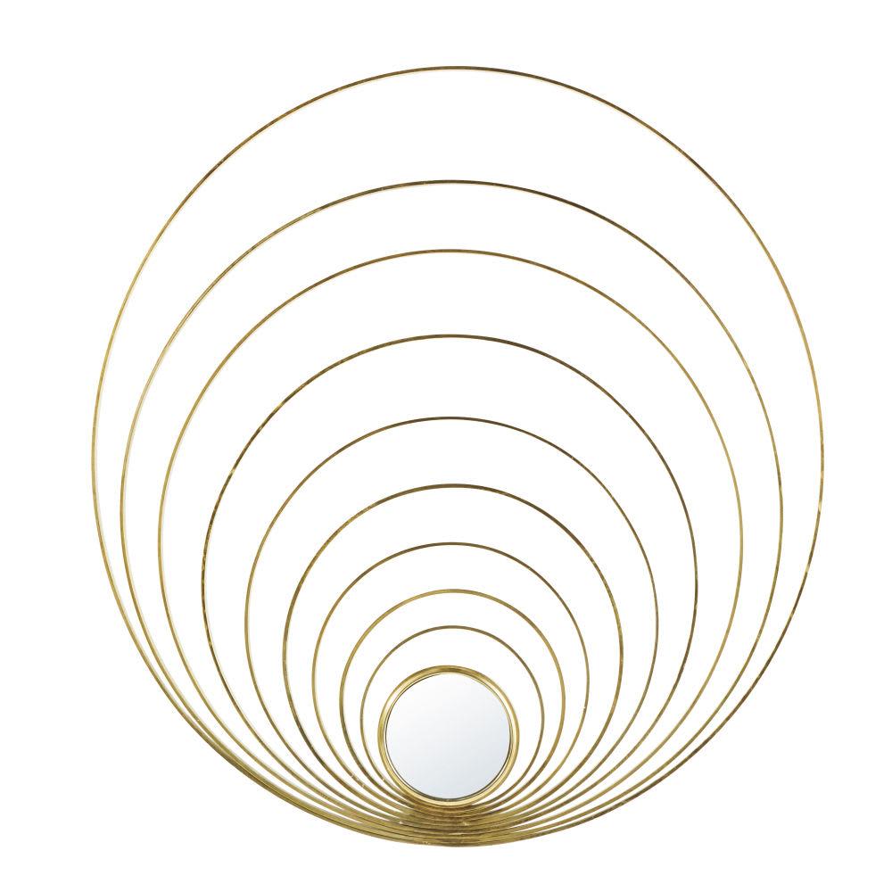 wanddeko aus goldfarbenem metall und spiegel d90 dallas. Black Bedroom Furniture Sets. Home Design Ideas