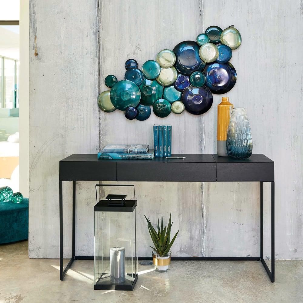 wanddeko aus metall blau 119x58 blue lagoon maisons du. Black Bedroom Furniture Sets. Home Design Ideas