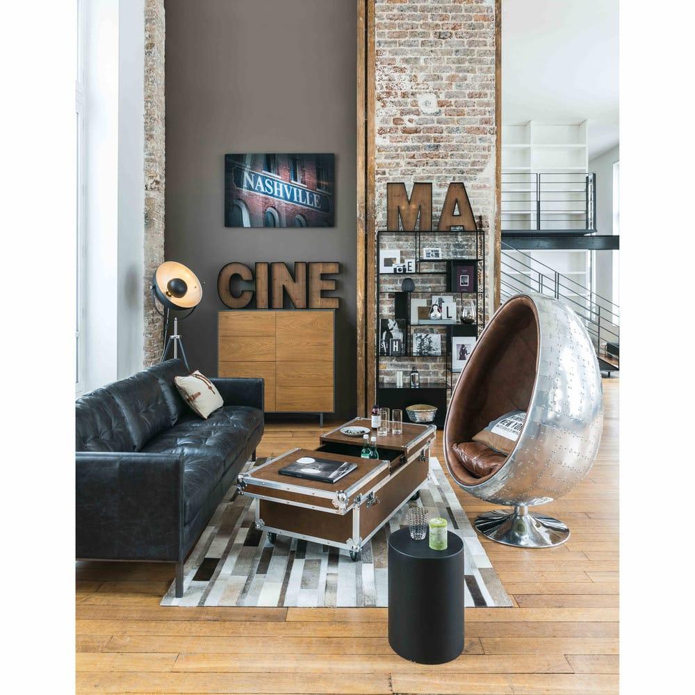 wanddeko aus metall und holz cinema maisons du monde. Black Bedroom Furniture Sets. Home Design Ideas