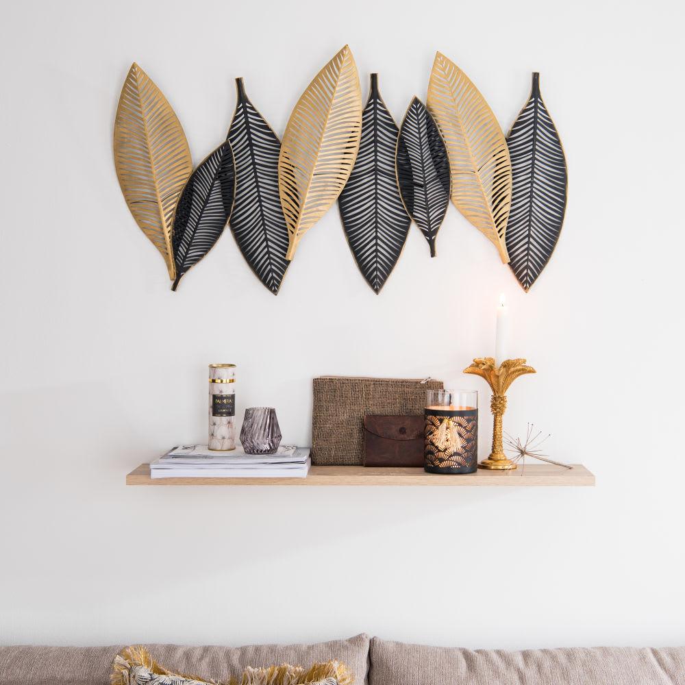 wanddeko bl tter aus metall schwarz und goldfarben 93x51. Black Bedroom Furniture Sets. Home Design Ideas