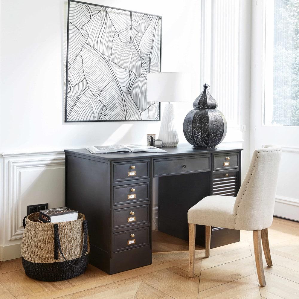 wanddeko blatt aus schwarzem metall 100x100 amazonie maisons du monde. Black Bedroom Furniture Sets. Home Design Ideas