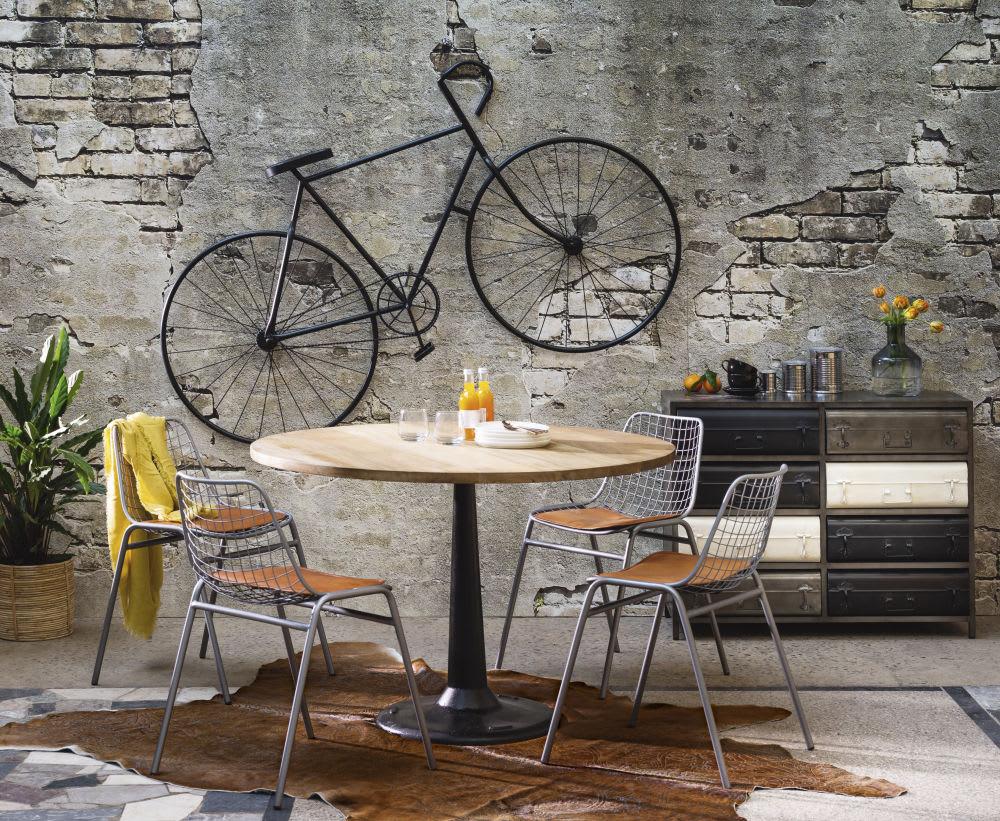 wanddeko 39 fahrrad 39 aus schwarzem metall 186x108 urban. Black Bedroom Furniture Sets. Home Design Ideas