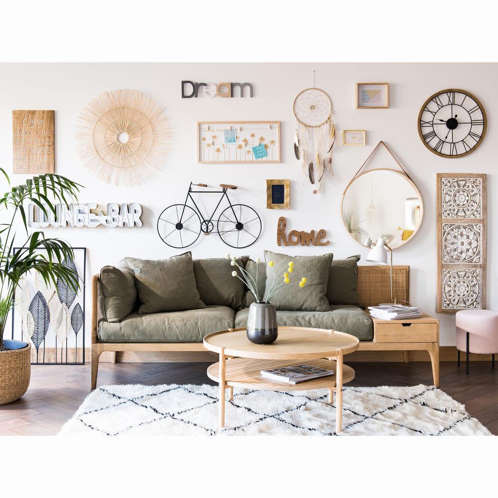 wanddeko federn aus metall in schwarz und gold 53x84 inaya. Black Bedroom Furniture Sets. Home Design Ideas