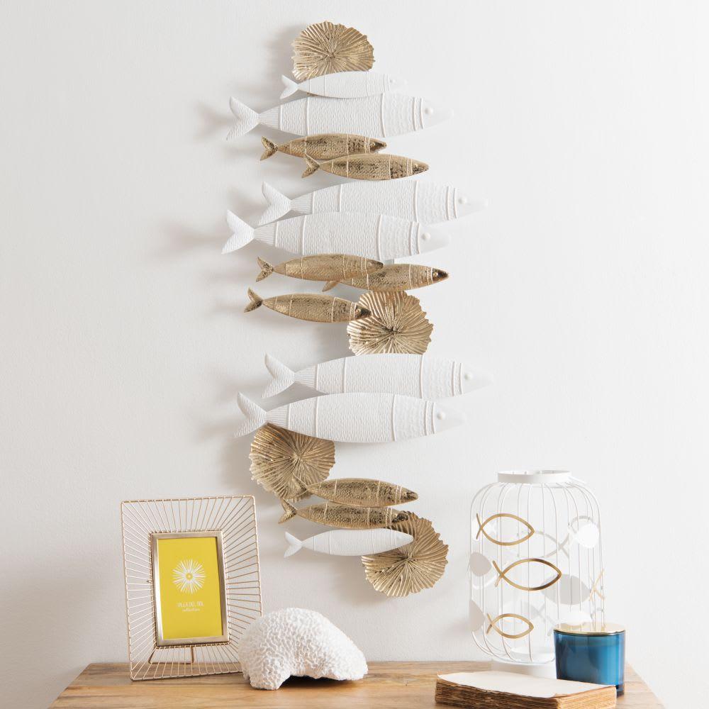 wanddeko fische aus metall wei und goldfarben 41x87. Black Bedroom Furniture Sets. Home Design Ideas