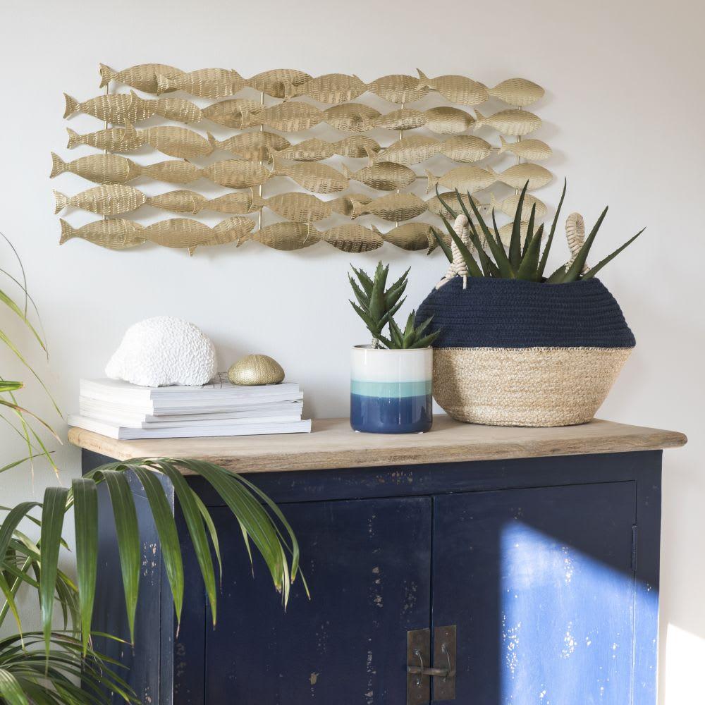 wanddeko fischschwarm aus goldfarbenem metall 86x29. Black Bedroom Furniture Sets. Home Design Ideas