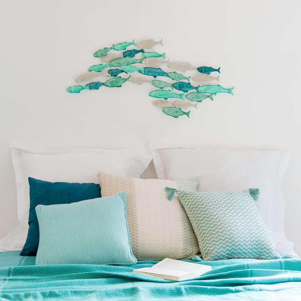 wanddeko fischschwarm aus gr nem metall 81x38 maisons du. Black Bedroom Furniture Sets. Home Design Ideas