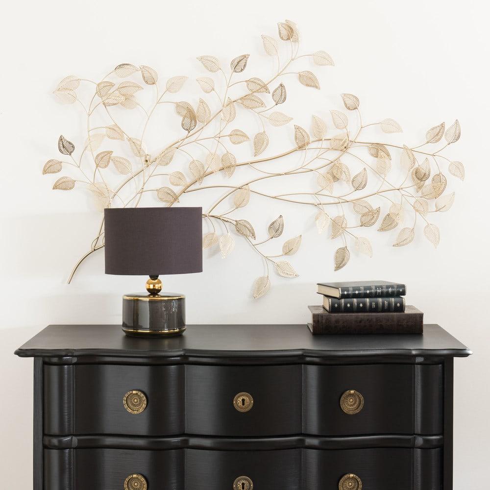 wanddeko ge st aus goldfarbenem metall 110x65 maisons du. Black Bedroom Furniture Sets. Home Design Ideas