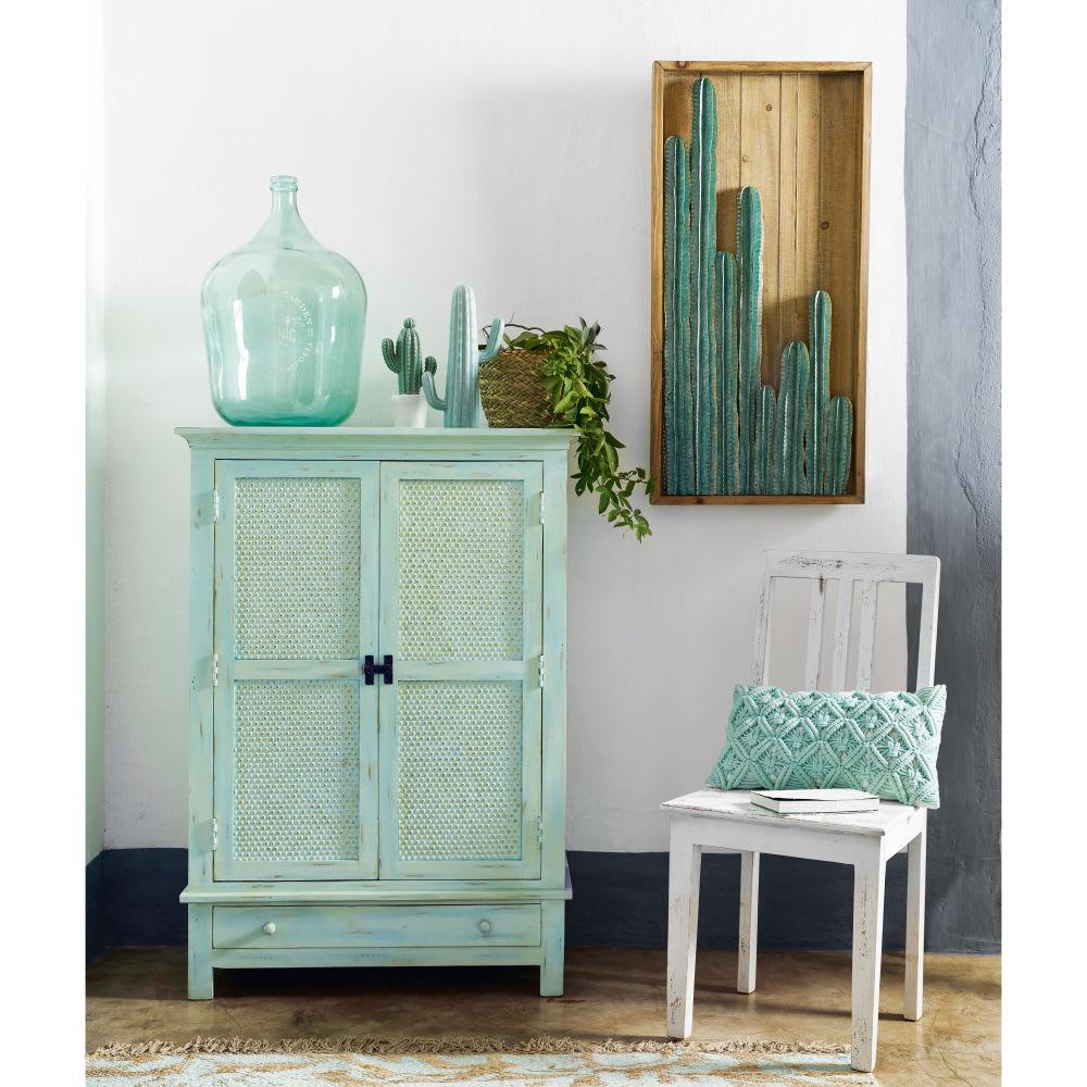wanddeko kaktus aus tannenholz und metall 50x100 desierto. Black Bedroom Furniture Sets. Home Design Ideas