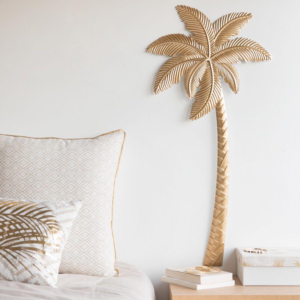 wanddeko palme aus metall goldfarben 38x84 palmisto. Black Bedroom Furniture Sets. Home Design Ideas