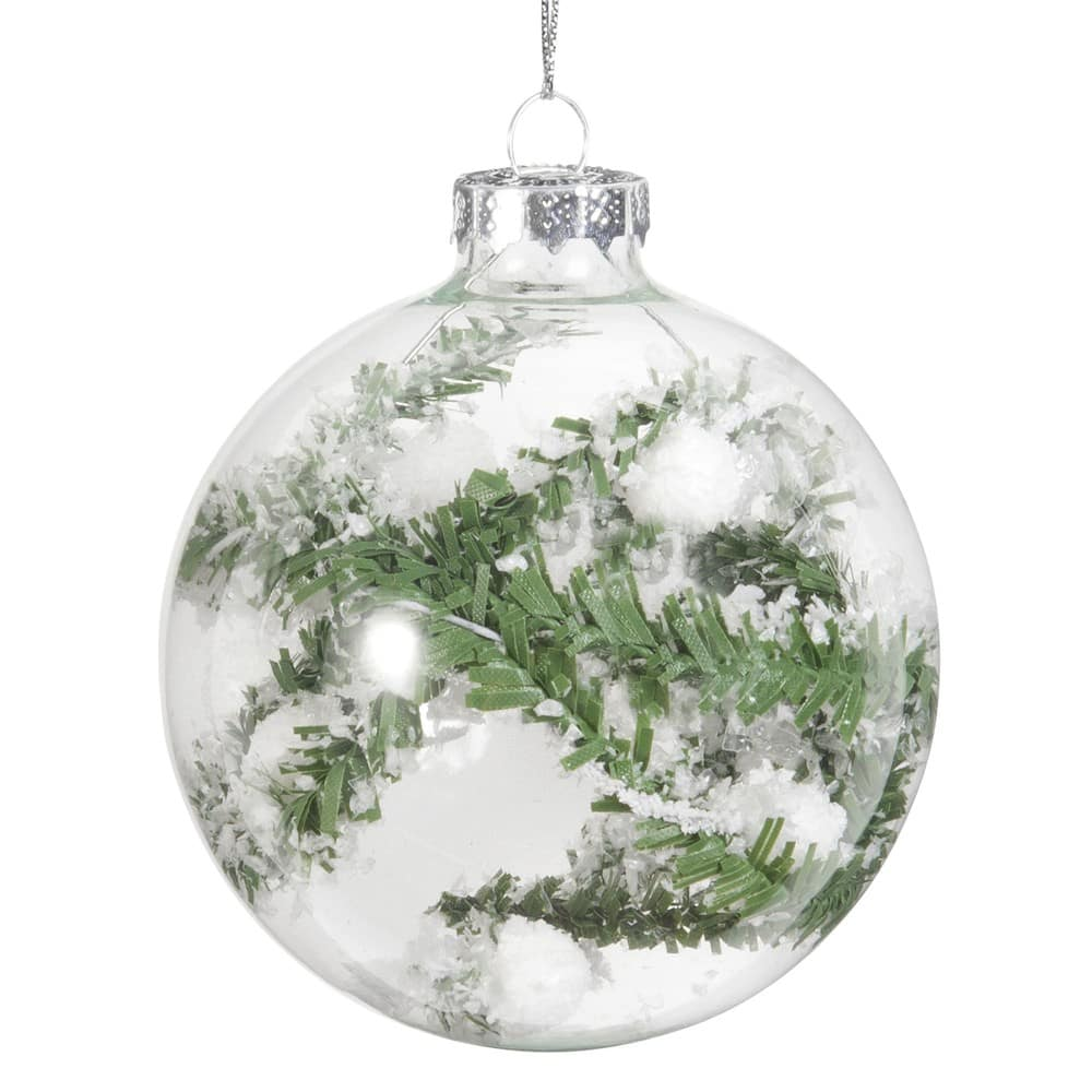 Tannenbaum Der Schneit.Weihnachtskugel Aus Glas Mit Verschneitem Tannenbaum