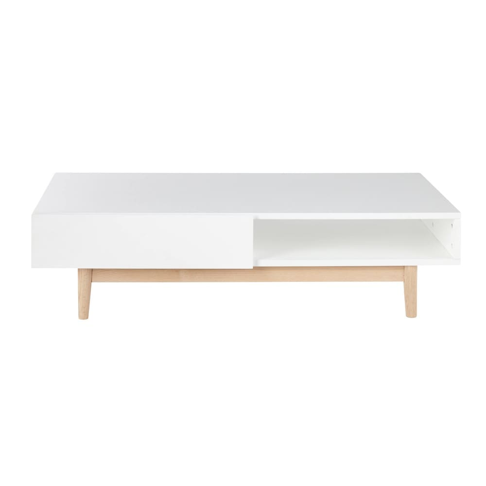 white 2 drawer scandinavian style coffee table artic maisons du monde