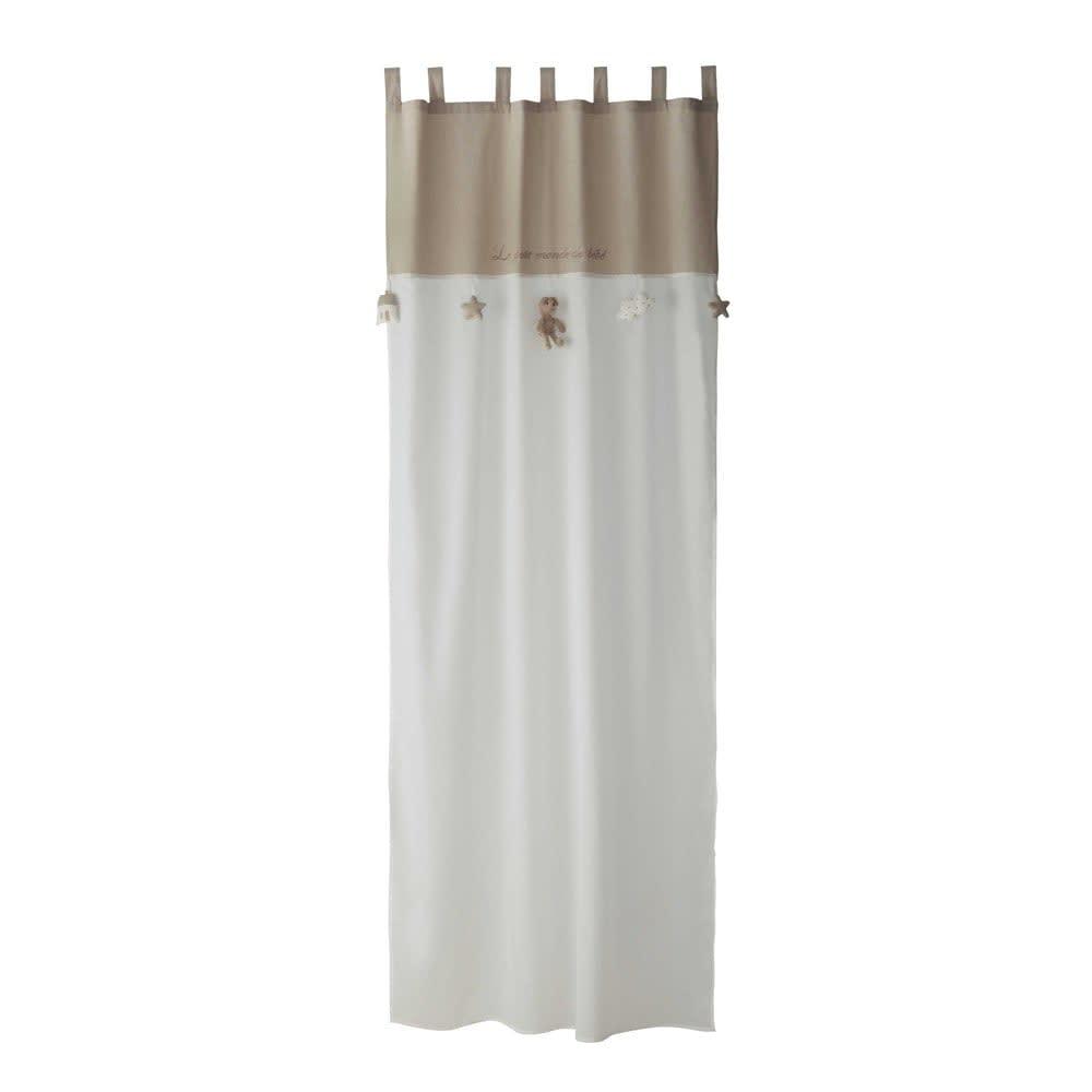 26a6ceea5c White and Beige Cotton Tab Top Curtain 110x250 Ourson | Maisons du Monde