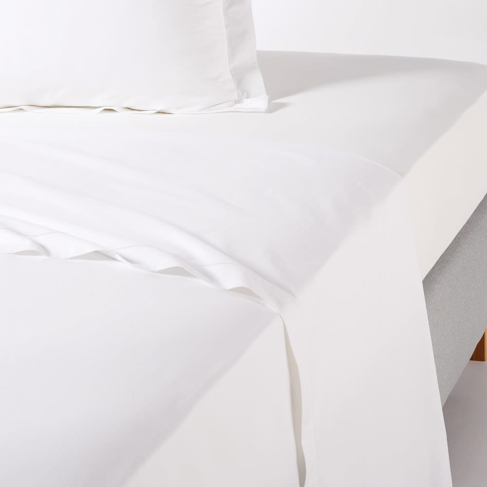 White Cotton Percale Flat Sheet 270 x 290 Luce Pro | Maisons du Monde