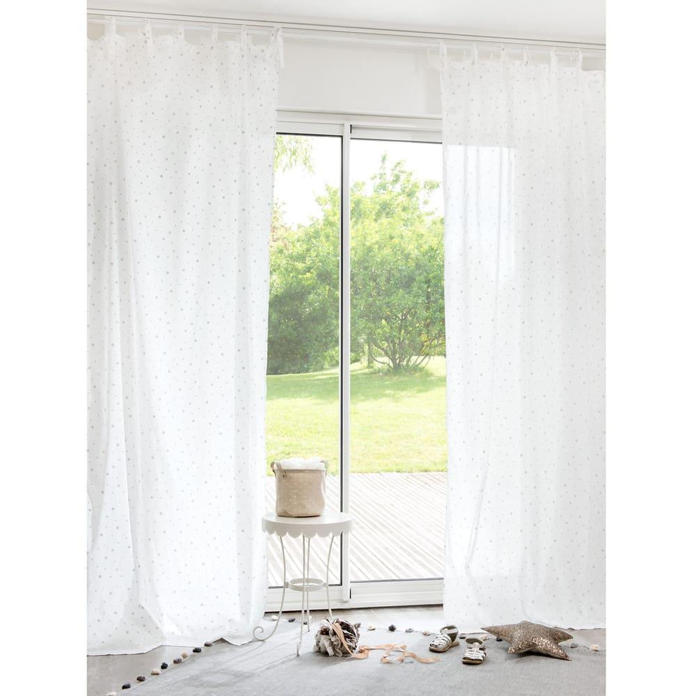 white cotton tie top curtain 102x250 toile maisons du monde. Black Bedroom Furniture Sets. Home Design Ideas