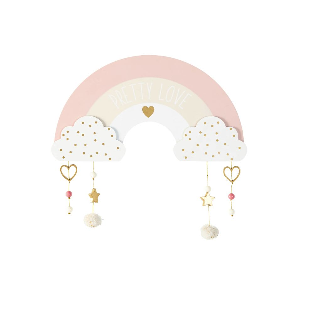 White gold and pink rainbow wall art 34x33
