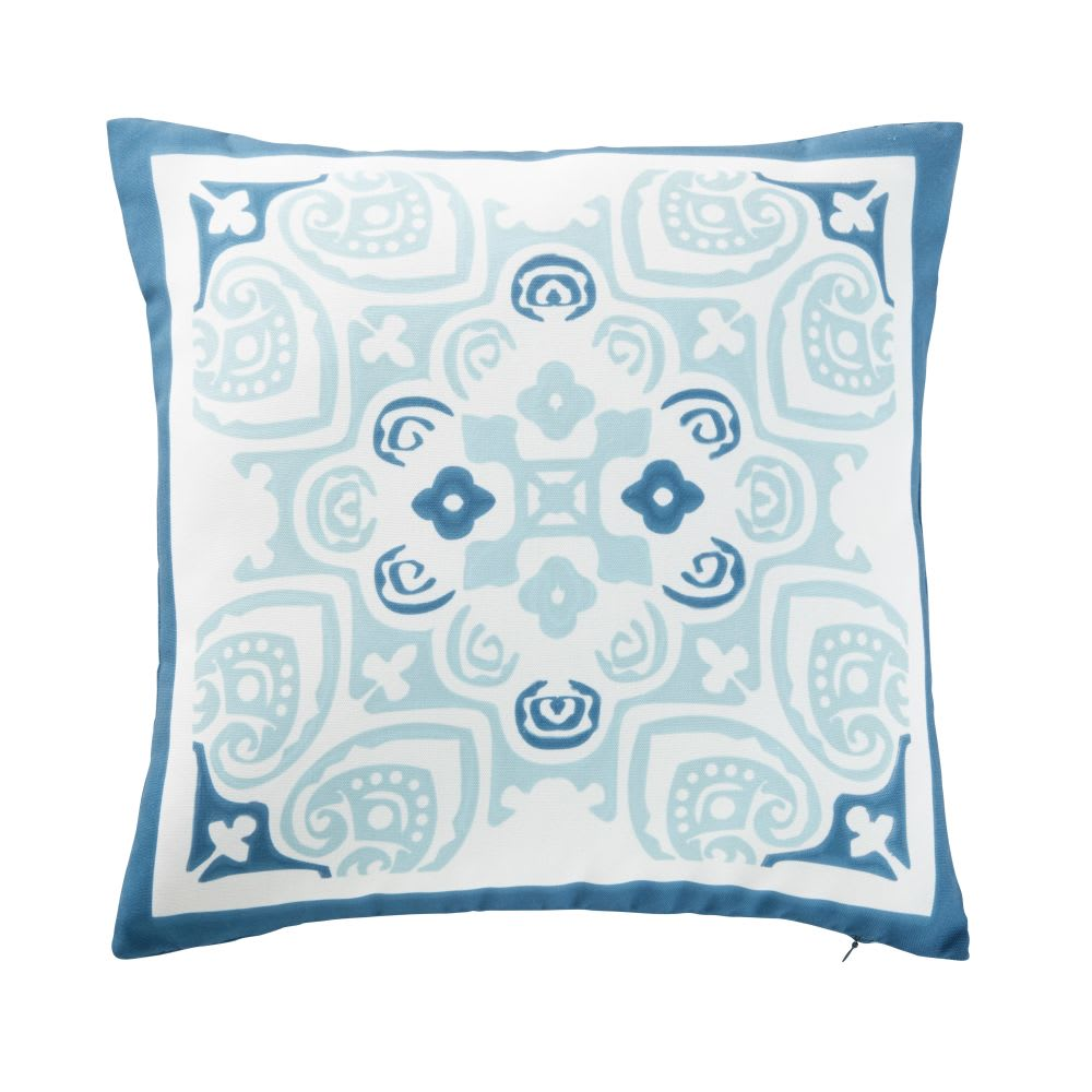 White Outdoor Cushion With Blue Cement Tile Print 45x45 Nossa