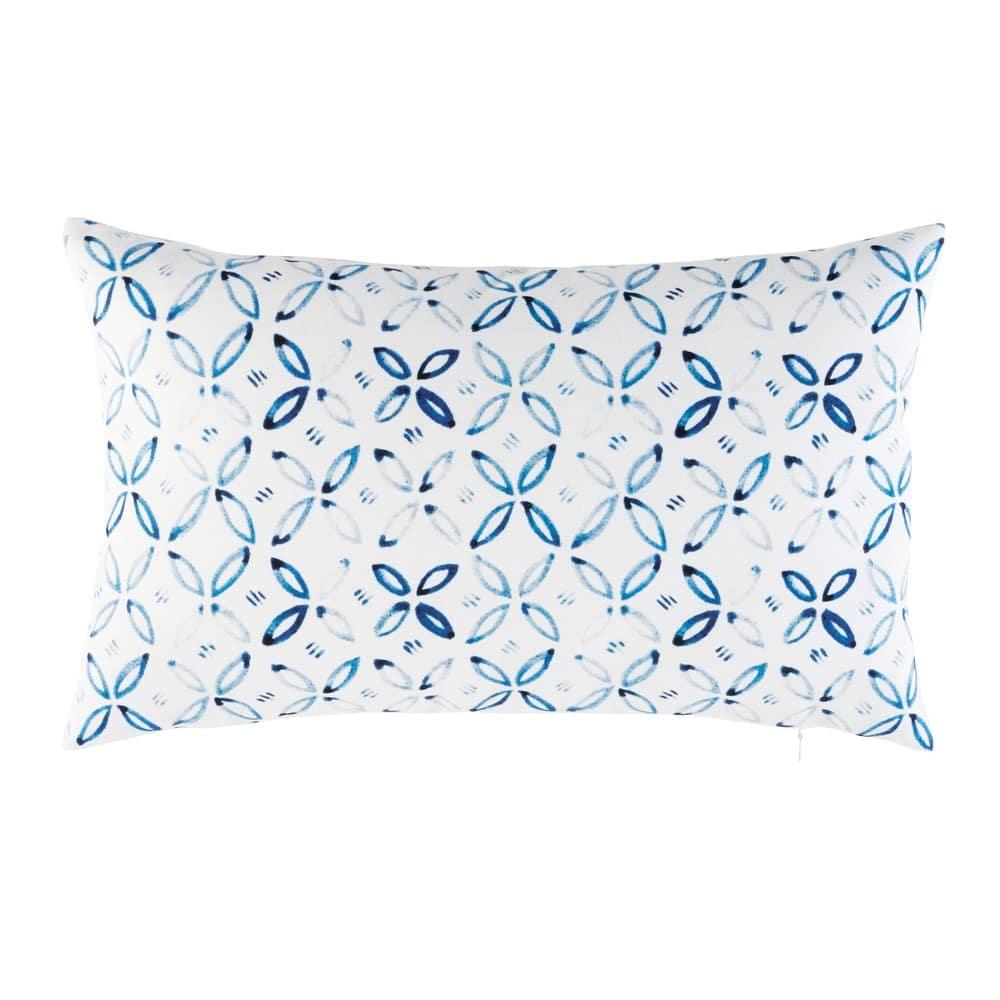 White Outdoor Cushion With Blue Graphic Motifs 30x50 Maisons Du Monde