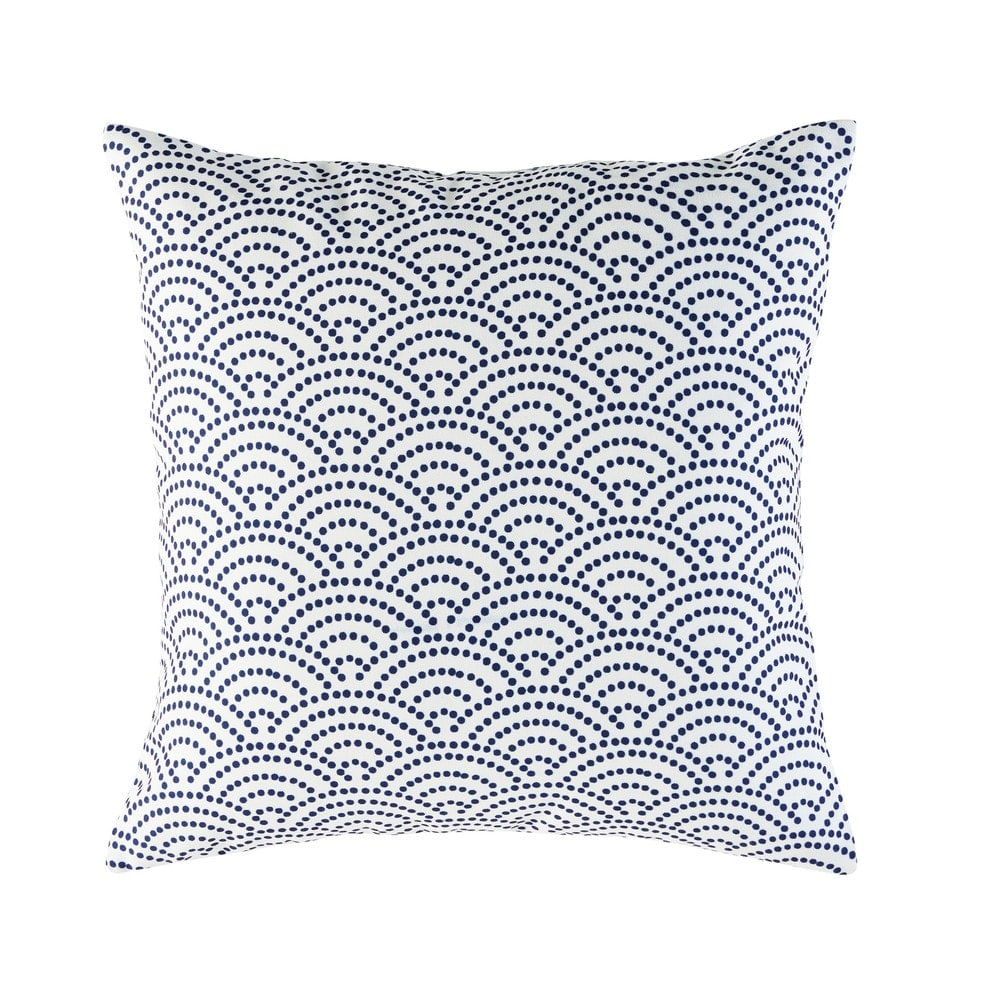 White Outdoor Cushion With Blue Graphic Motifs 45x45 Tinos Maisons