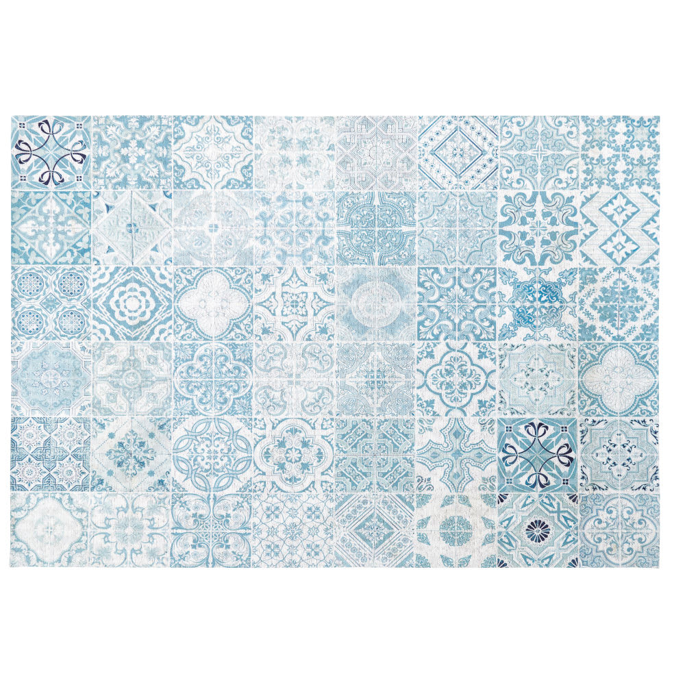 White Outdoor Rug With Blue Cement Tile Print 155x230 Amadora