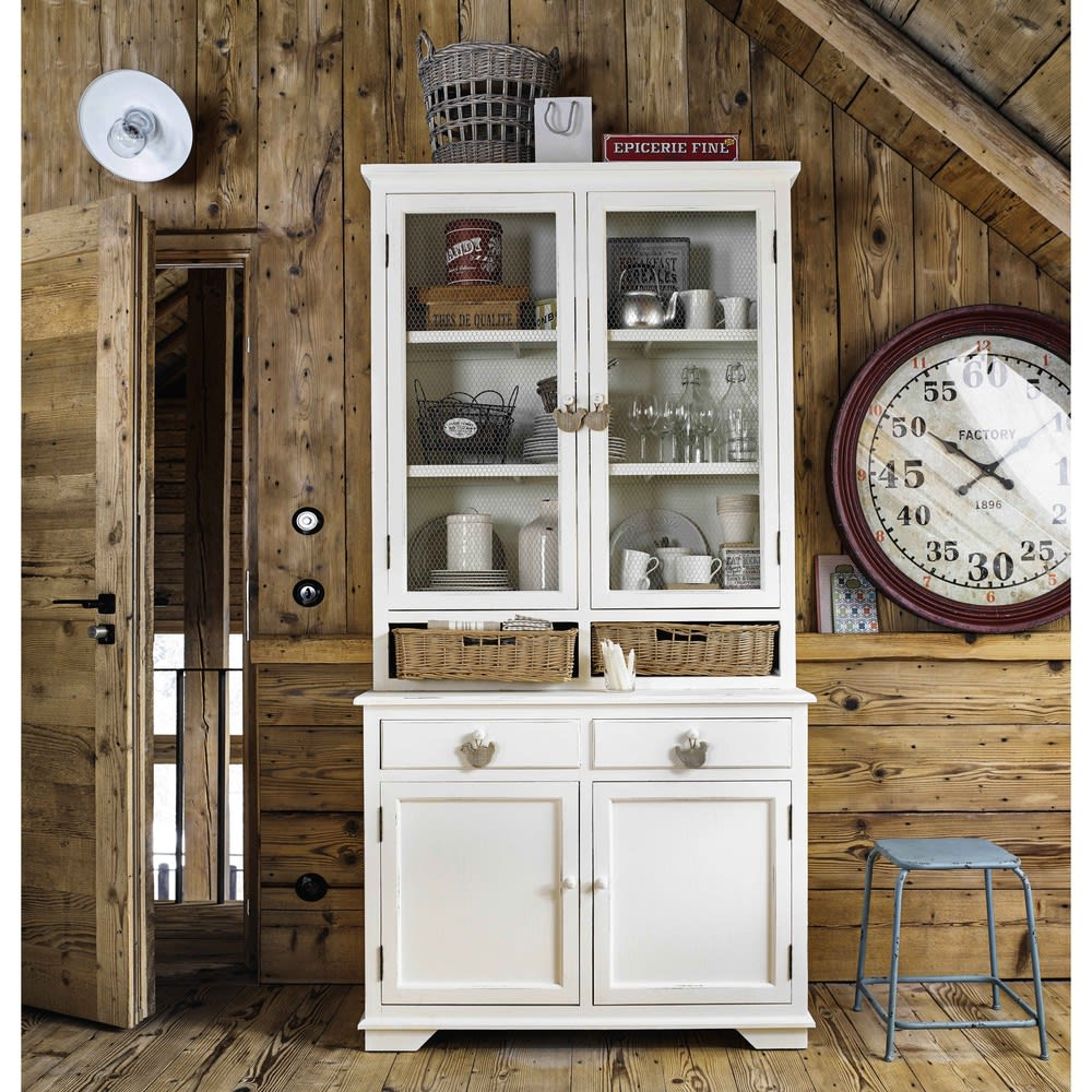 White Pine Cabinets: White Pine Wood China Cabinet With 2 Baskets Basse Cour