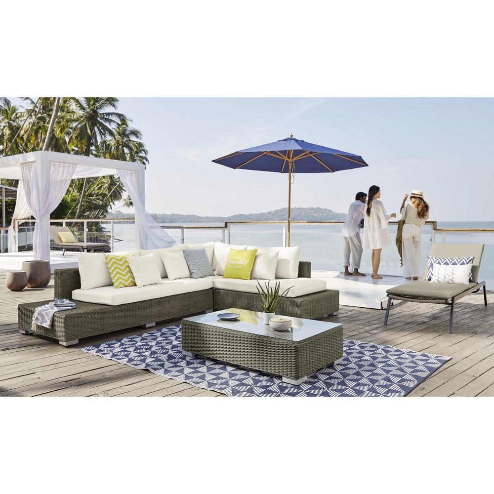 White Resin Wicker Patio Set Benguerra Maisons Du Monde