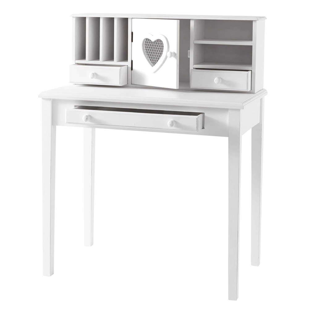 white writing 1door 3drawer desk valentine  maisons du