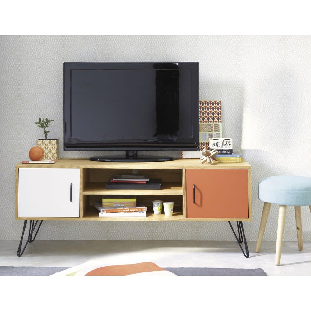 2 Tv Meubel.Wit En Oranje Vintage Tv Meubel Met 2 Deurtjes Twist Maisons Du Monde