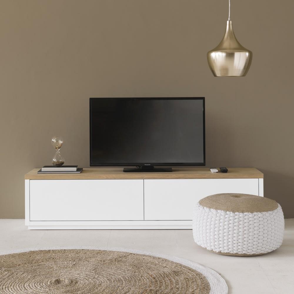 2 Tv Meubel.Wit Tv Meubel Met 2 Deurtjes L180 Austral Maisons Du Monde