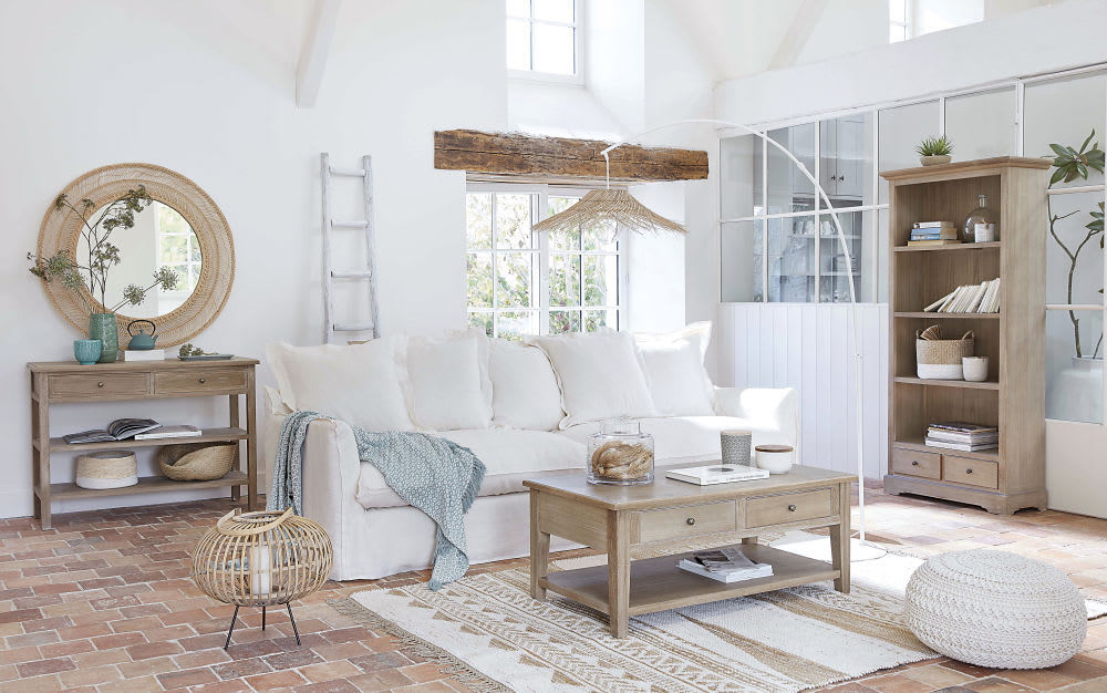 Houten Ladder Decoratie : Witte decoratieve eiken ladder ines maisons du monde