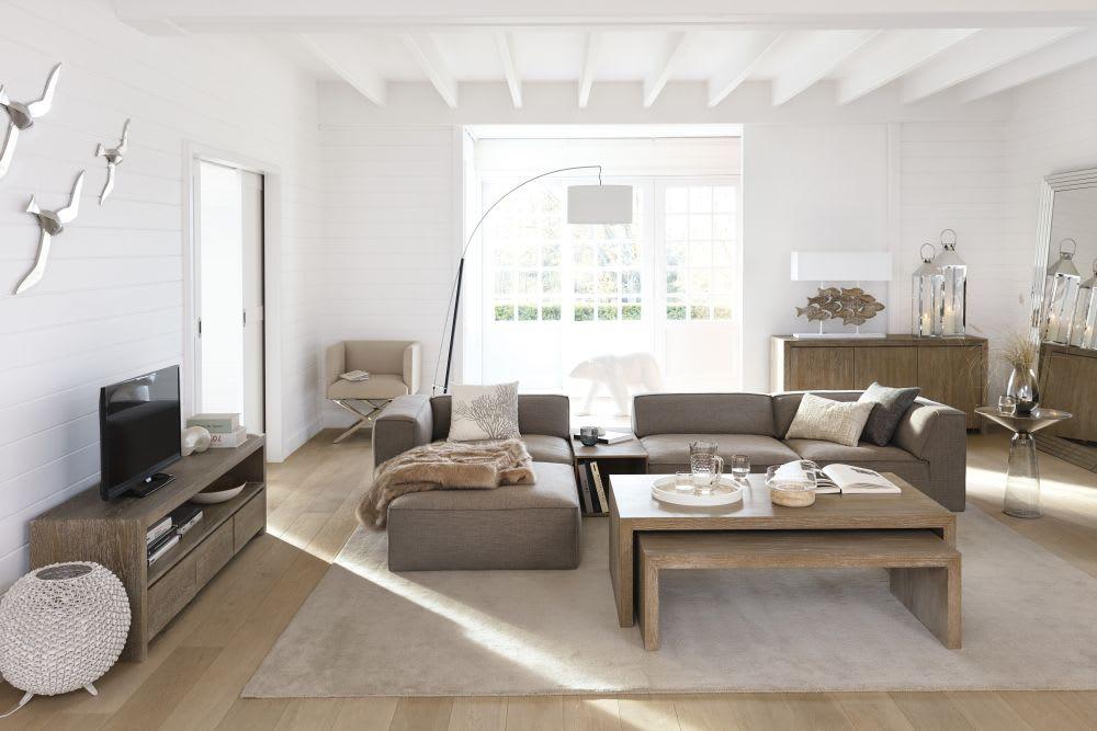 Witte metalen en katoenen staande lamp h cm torino maisons