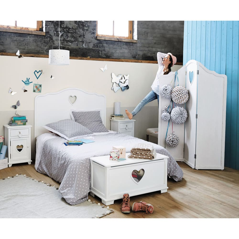 Wooden bedside table with drawer in white W 40cm