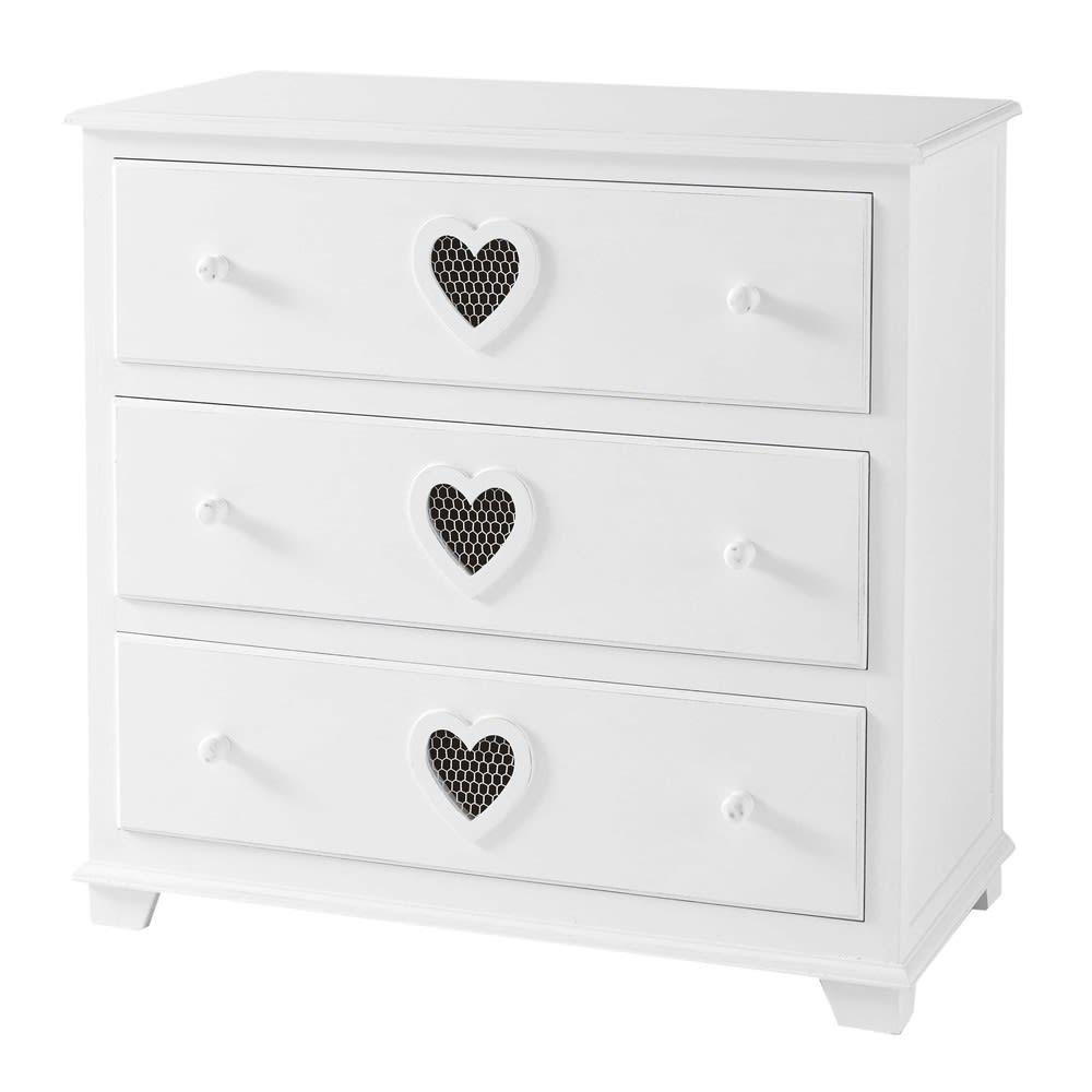 wooden chest of drawers in white w 90cm valentine maisons du monde. Black Bedroom Furniture Sets. Home Design Ideas