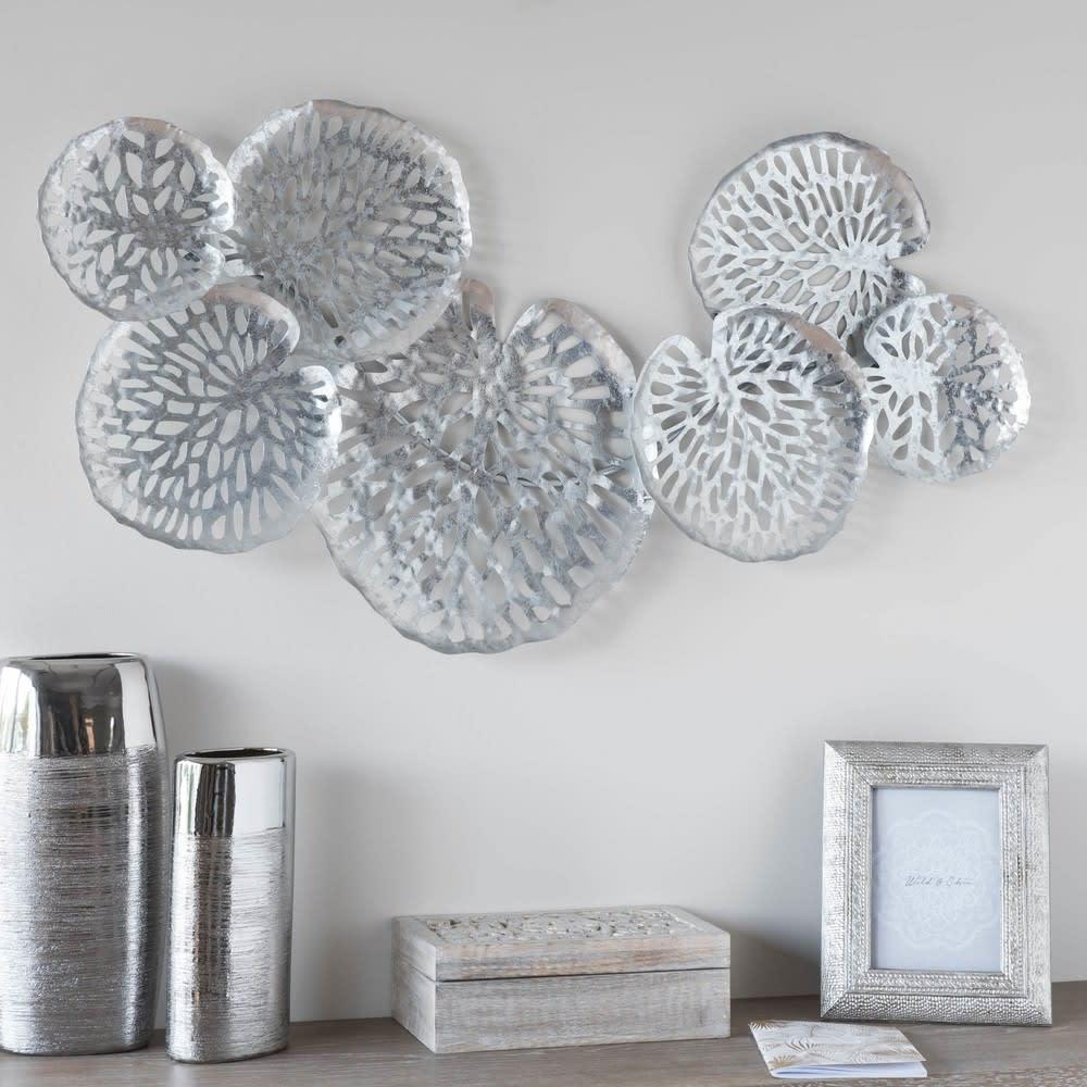 Zilverkleurige metalen wanddecoratie 98x50 fungia for Orologi da parete maison du monde