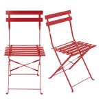 2 chaises de jardin pliantes en métal époxy rouge H80