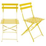 2 chaises pliantes de jardin en métal jaune