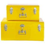 2 metal trunks in yellow
