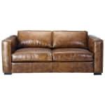 Ausziehbares 3-Sitzer- Sofa aus Leder, braun antik