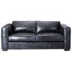Ausziehbares 3-Sitzer- Sofa aus Leder, schwarz Berlin