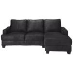Ecksofa 3-/4-Sitzer aus Microsuede mit Ecke rechts, schwarz