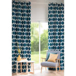 Single Peacock Blue Patterned Curtain 140x300