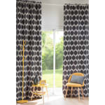 Single White and Anthracite Eyelet Curtain 140x300