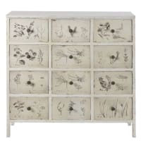 12-Drawer Storage Cabinet with Ivory Floral Print Herboriste