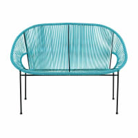 2/3-seater garden bench in blue resin string and black metal Copacabana