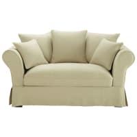 2/3 seater linen sofa in beige Roma