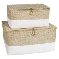 2 Bleached Woven Boxes